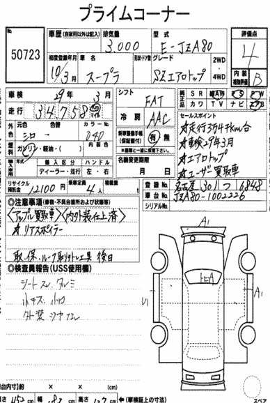 1998 Toyota Supra SZ AEROTOP auction sheet