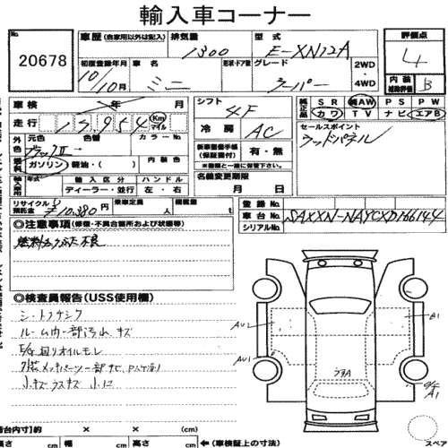 1998 Rover Mini Cooper BSCC LTD auction sheet