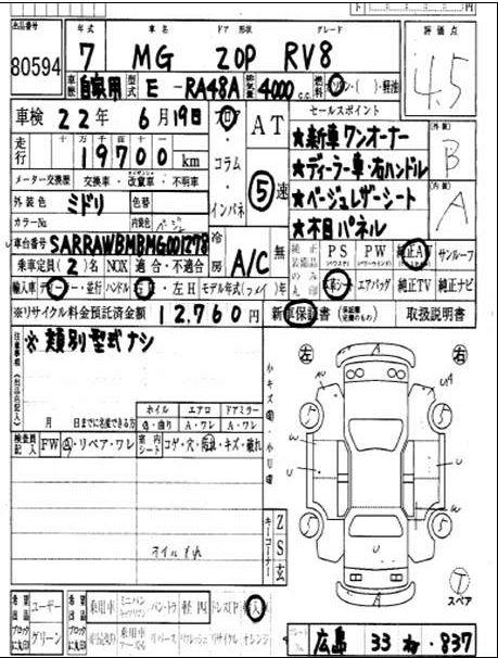 1995 mg RV8 auction sheet