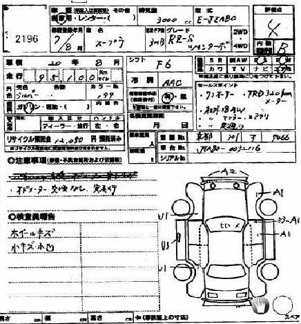 1995 Toyota Supra RZ-S 3L twin turbo auction sheet