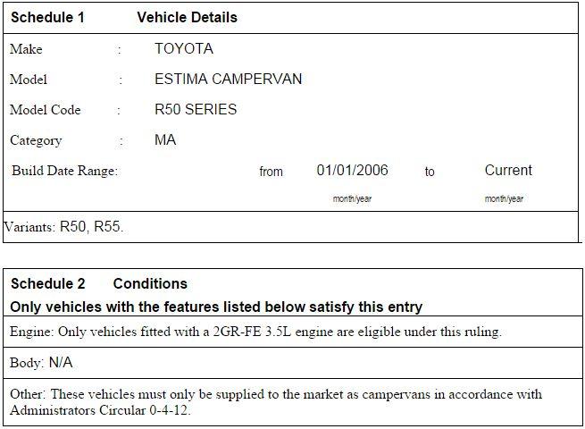 Toyota Estima R50 SEVS ruling1
