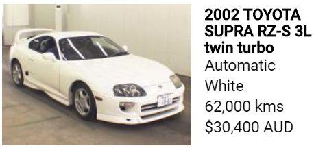 2002 TOYOTA Supra twin turbo 6 speed white automatic