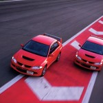 2004 Mitsubishi Lancer EVO 8 red on track