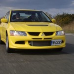 2004 Mitsubishi Lancer EVO 8 yellow front on