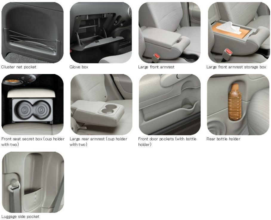Nissan Cube Z12 storage compartments
