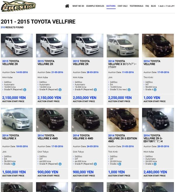 Toyota Vellfire Hybrid Auction Examples 600
