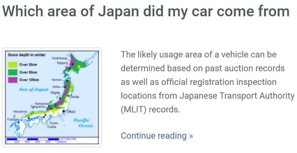 area japan car history