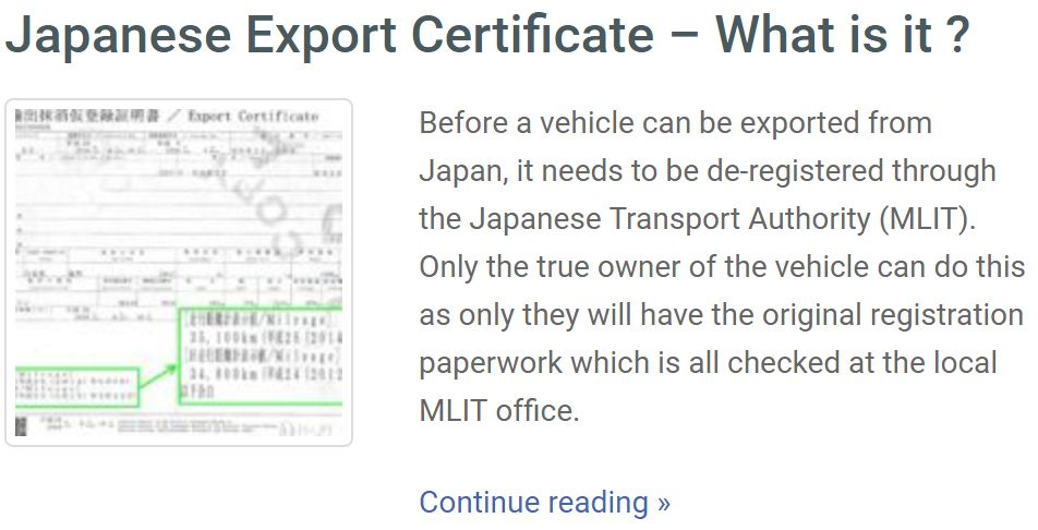 japan car export-certificate
