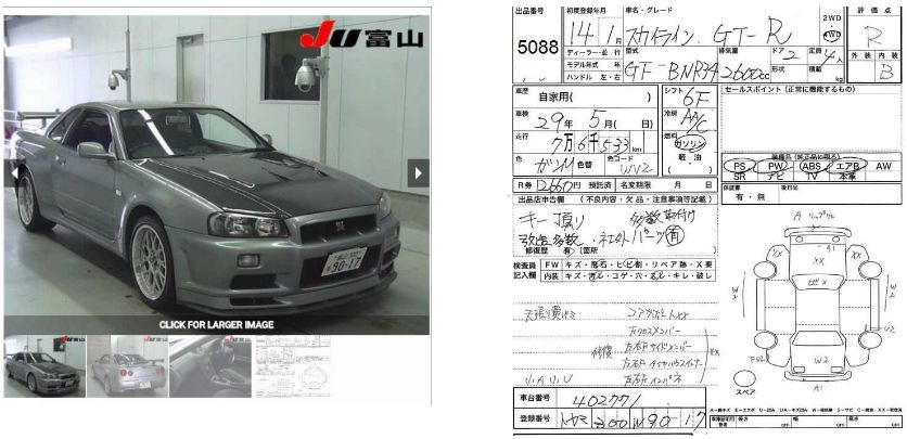 Japan Car History Check GTR example