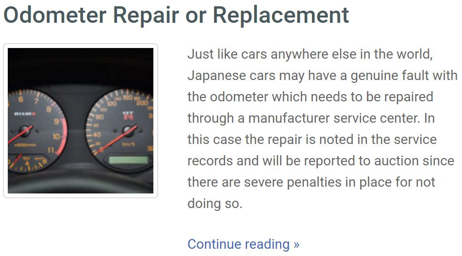 japan car odo-repair history