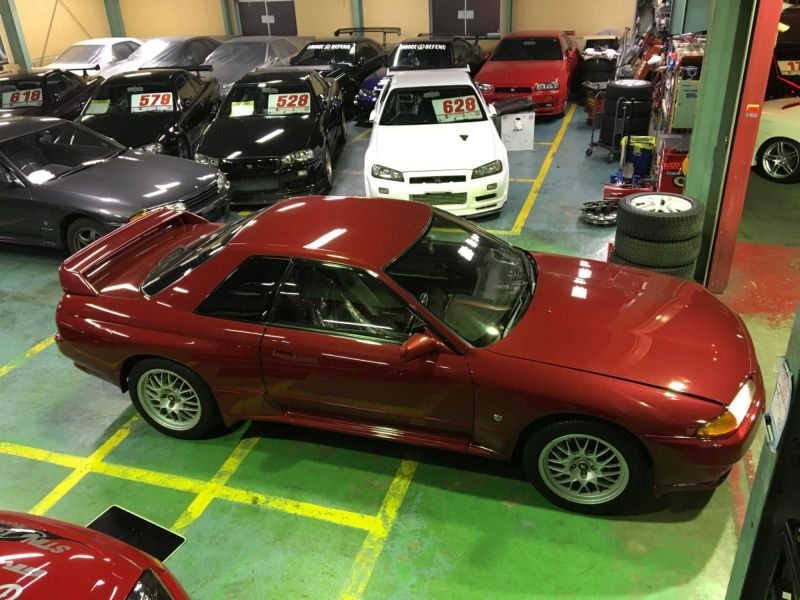 Red 1993 R32 GTR right front at Japan GTR Specialist