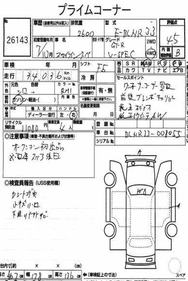 1995 Nissan Skyline R33 GTR VSpec Auction report 2