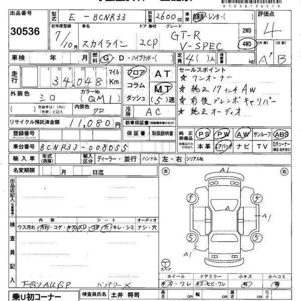 1995 Nissan Skyline R33 GTR VSpec Auction report