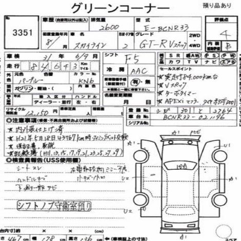 1996 NISSAN SKYLINE R33 GTR VSPEC Auction report