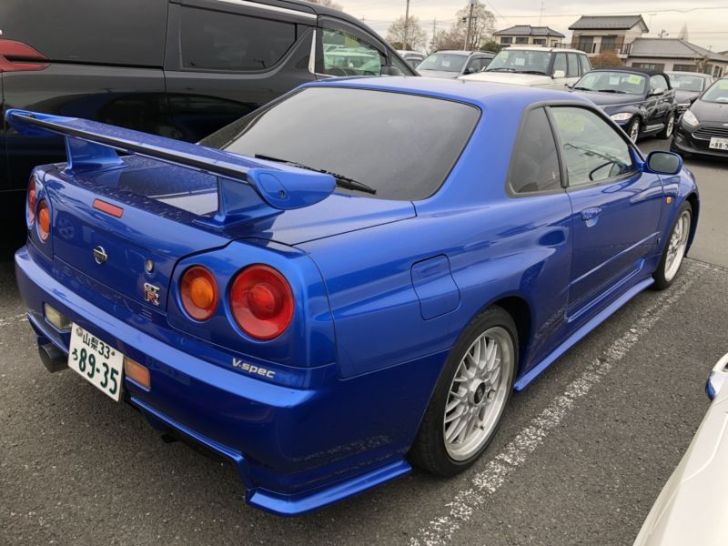1999 Nissan Skyline R34 GTR VSpec Bayside Blue right rear