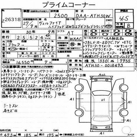 2015 Toyota Vellfire Hybrid Executive Lounge auction report