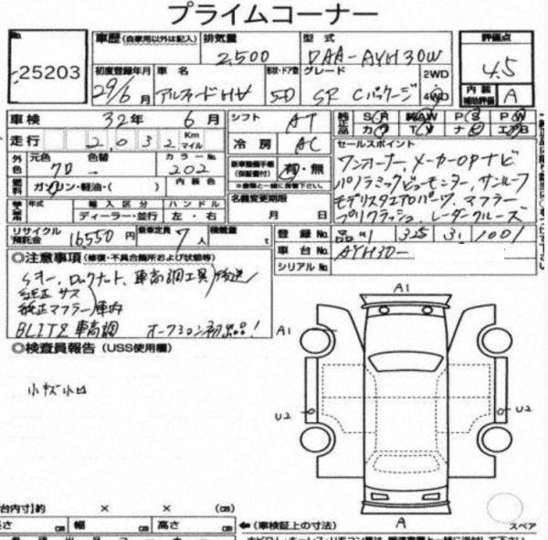 2017 Toyota Alphard Hybrid SR C Package auction report