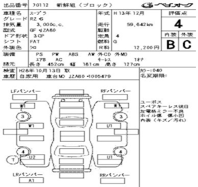 2001 Toyota Supra RZ-S 3L twin turbo auction sheet