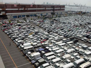 Japanese car auction parking lot