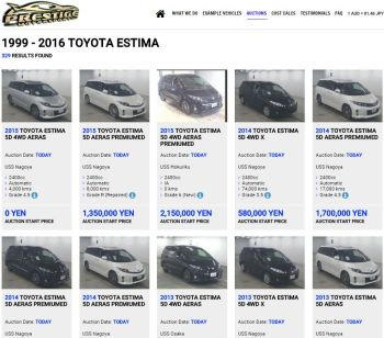 Toyota Estima import search results