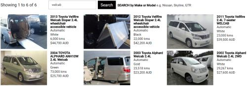 Toyota Alphard Welcab prices
