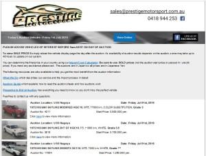Japan car auction email alerts system