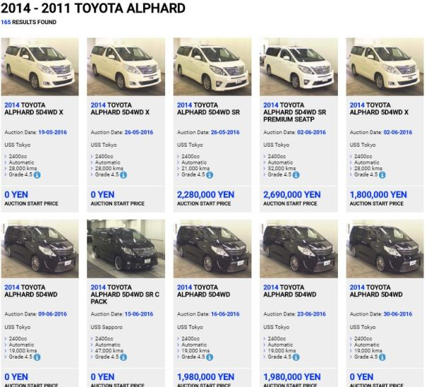 Alphard Hybrid Auction Examples