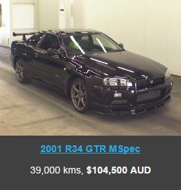 R34 GTR import price black