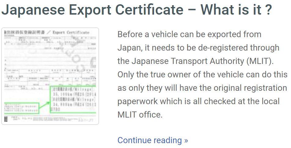 japan car export-certificate