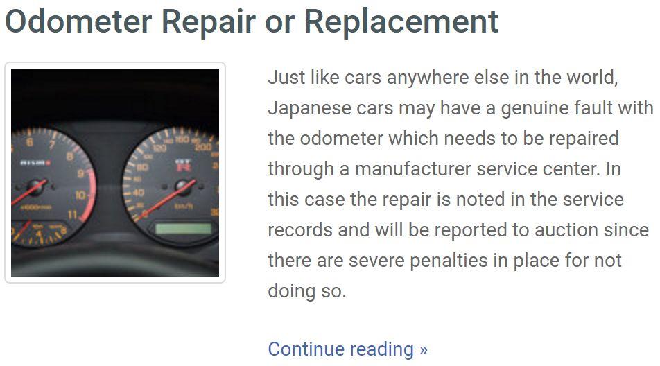 japan car odo-repair history