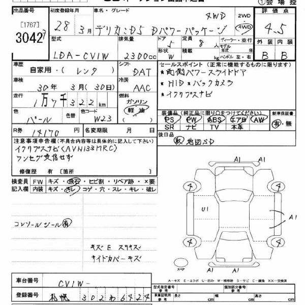 2016 Mitsubishi Delica D5 diesel CV1W 4WD auction report