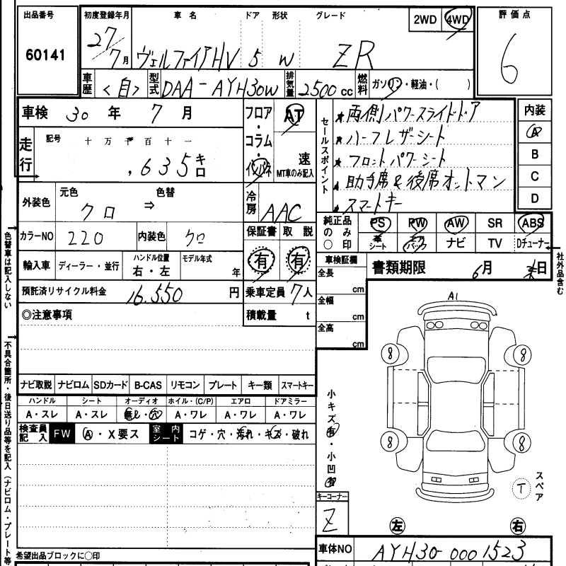 2015 Toyota Vellfire Hybrid ZR 30 Series auction report