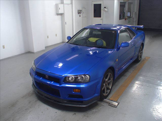 1999 Nissan Skyline R34 GT-R VSpec TV2 Bayside Blue auction left front