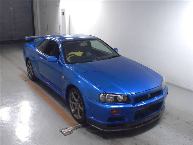 1999 Nissan Skyline R34 GT-R VSpec TV2 Bayside Blue auction right front