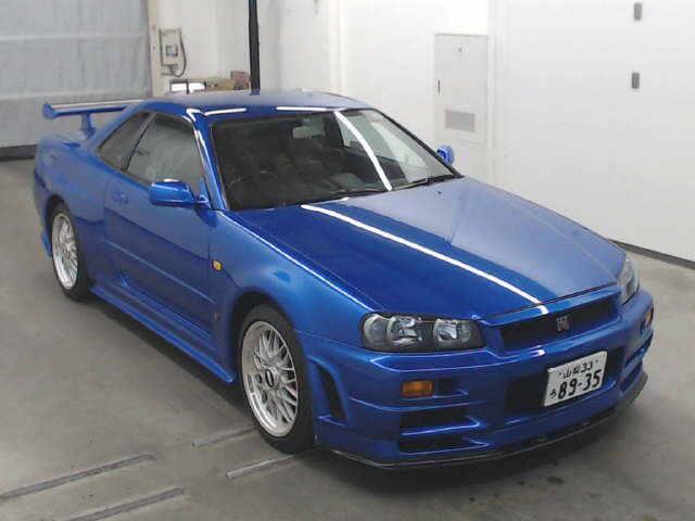 1999 Nissan Skyline R34 GTR VSpec Bayside Blue auction front