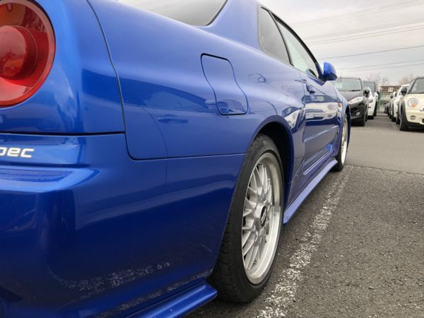 1999 Nissan Skyline R34 GTR VSpec Bayside Blue right rear quarter