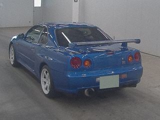 2000 Nissan Skyline R34 GTR VSpec Bayside Blue auction rear
