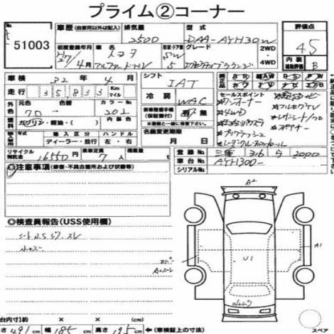 2015 TOYOTA ALPHARD EXE LOUNGE Auction report sans code