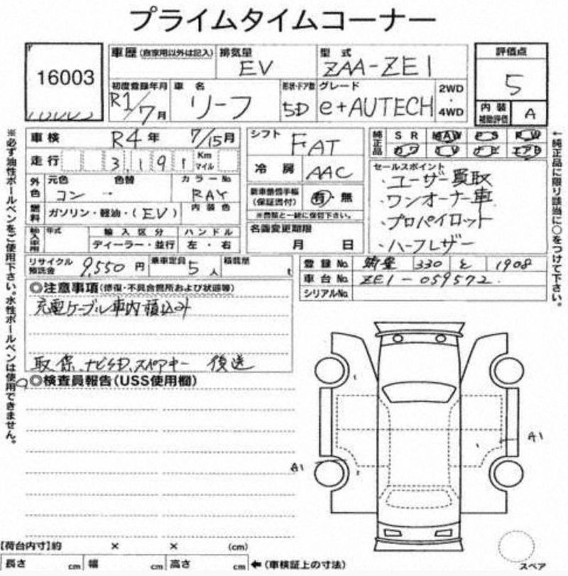 2019 Nissan Leaf e+ AUTECH auction report