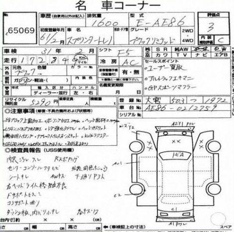 1986 Toyota Sprinter BLACK LTD Auction Report