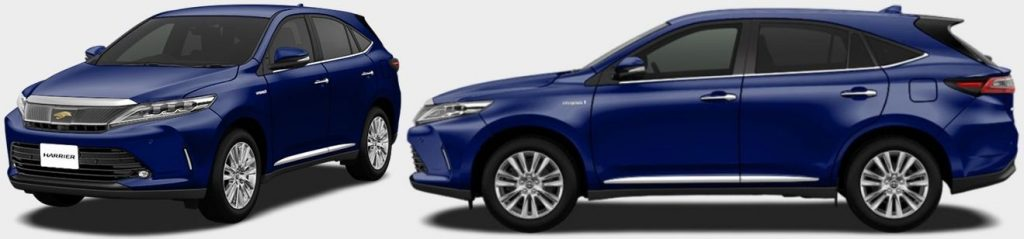 Toyota Harrier hybrid colour Dark Blue Mica Metallic (8W7) front side