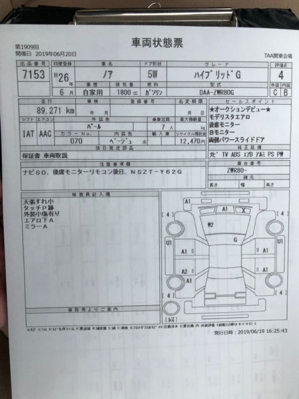 2014 Toyota Noah Hybrid G auction report